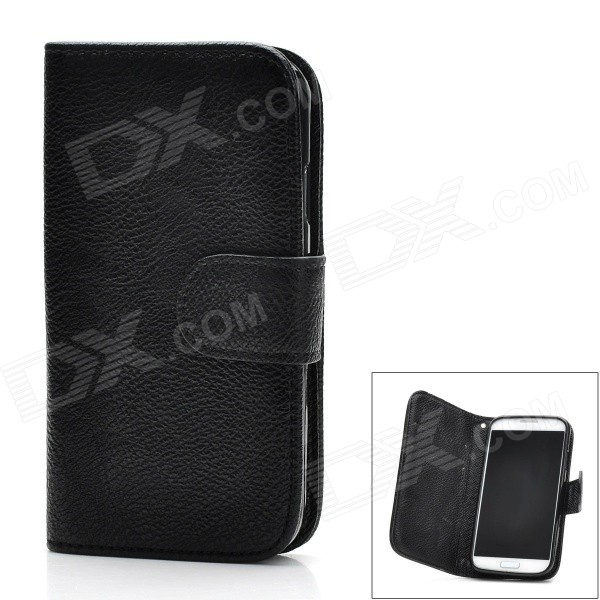 Protective PU Leather Cover Plastic Back Case Stand w/ Card Slot for Samsung Galaxy S4 i9500 - Black cloth style protective pu leather cover plastic back case stand for samsung galaxy s4 i9500 black