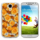 3D Rose Pattern Protective Plastic Hard Back Case for Samsung Galaxy S4 i9500 - Yellow + White