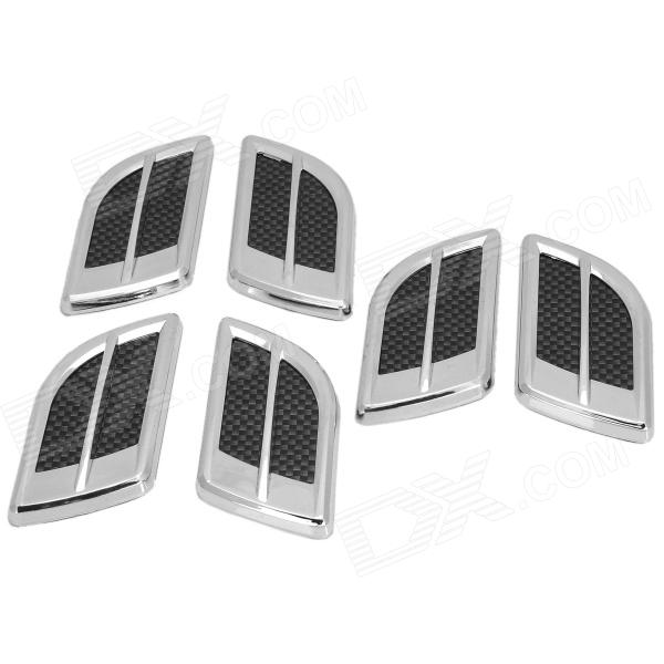 OB-66 Air Outlet Style Decorative Stickers for Car - Silver + Carbon (6 PCS) universal car air intake decorative stickers silver pair