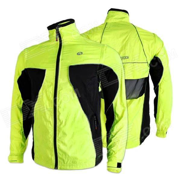 NUCKILY NY0921 Light Thin Reflective Cycling Coat w/ Detachable Sleeves - Green + Black (Size L)
