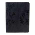 Rose Pattern PU Leather Smart Case w/ Swivel Stand for Ipad 2 / 3 / 4 - Black