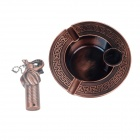 Retro Celtic Ashtray + Tribal Decoration Elephant Statue Figurine Lighter Set - Red Copper