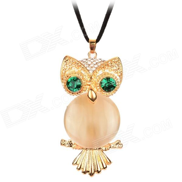 XX8 Decorative Crystal Eye Opal Owl Necklace - Golden + Green + Black three dimensional adjustable zinc alloy connector for gopro 3 3 2 golden