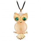 Decorative Crystal Eye Opal Owl Necklace - Golden + Green + Black