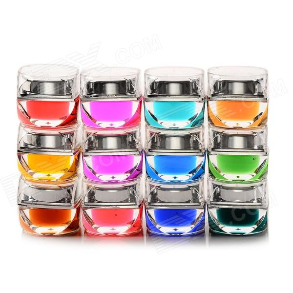 12-in-1 Nail Art Coloured Glaze Gel Set for UV Nail - Multicolor (8mL) china glaze гелевый лак это свинг детка china glaze gelaze gel n base polish swing baby 81725 9 76 мл