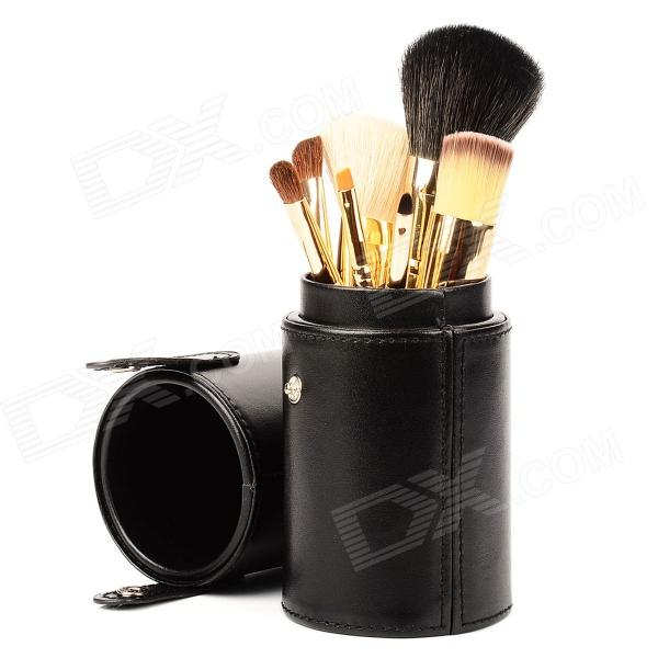 MAKE-UP FOR YOU Professional 7-in-1 Cosmetic Makeup Brushes Set w/ Case - Black high quality 18pcs set cosmetic makeup brush foundation powder eyeliner professional brushes tool with roll up leather case
