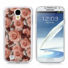Protective Rose Pattern Back Case for Samsung Galaxy S4 i9500 - Brown + Pink