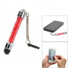 Stylish Crystal Stylus Pen w/ 3.5mm Anti-Dust Plug for Capacitive Screen - Red + Silver + Black