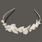 Luxurious Stainless Steel Shiny Flower and Leaf w/ Rhinestone / Pearl Hair Band Headband - Silver