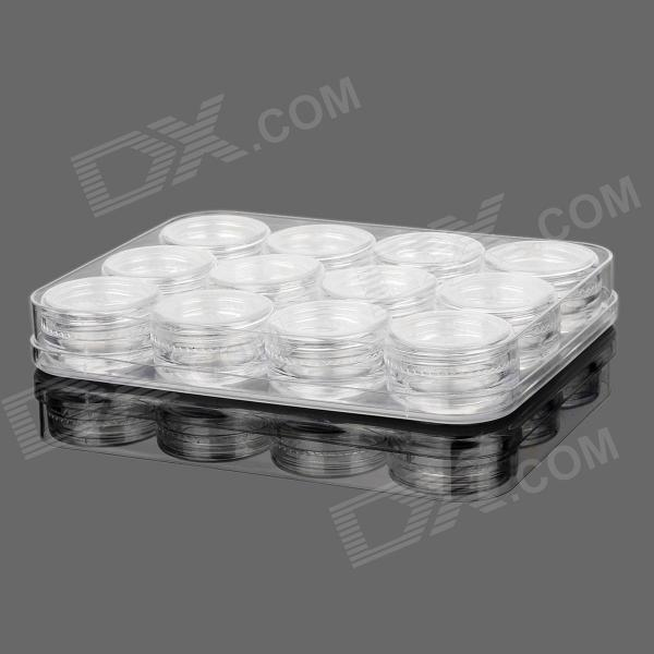 12-in-1 Jewelry Cosmetic Storage Case - Transparent White