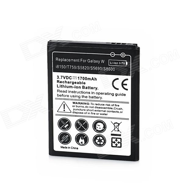 1700mAh 3.7V Replacement Battery for Samsung S5820 + Wi8150 - Black replacement 1200mah en el19 battery charger for nikon coolpix s2500 s4100 s3100 black white