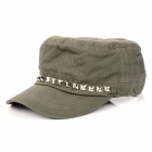 Fashion Rivets Cotton + Polyester Fiber Men's Flat-Top Hat / Cap - Army Green