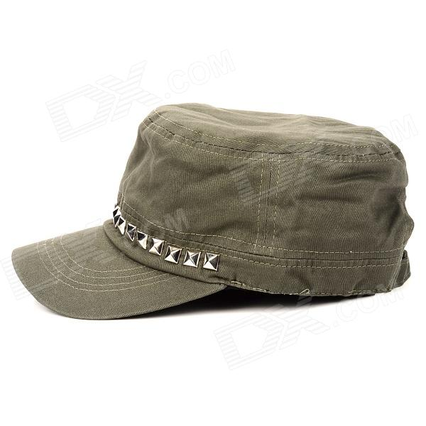 574ad9a849b Fashion Rivets Cotton + Polyester Fiber Men s Flat-Top Hat   Cap - Army  Green