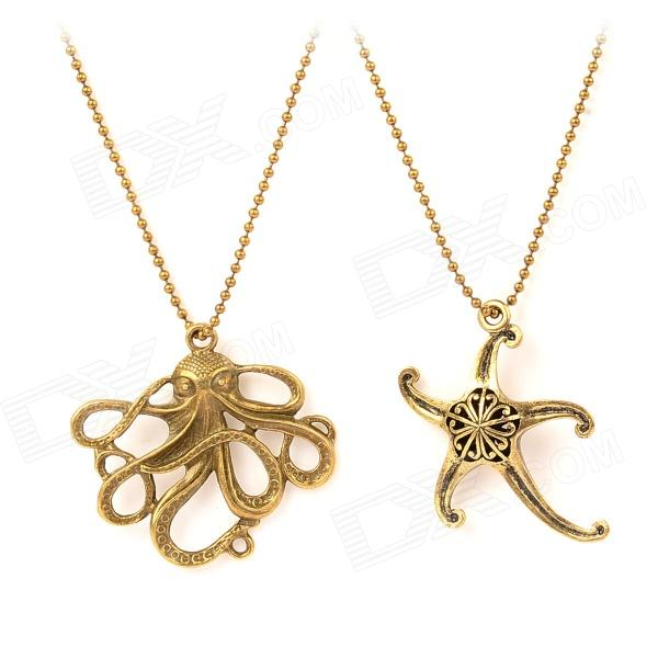 Creative Octopus and Starfish Pendant Zinc Alloy Necklace - Antique Brass (2 PCS) old antique bronze doctor who theme quartz pendant pocket watch with chain necklace free shipping