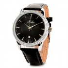 HAIBO 6309-B Simple Leather Band Quartz Wrist Watch - Black + Silver (1 x LR626)