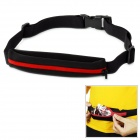 Outto Elastic Sports Running Nylon Waist Pocket w/ Buckle - Black + Red