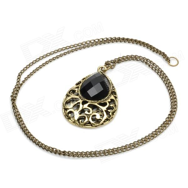 Hollow-out Water-Drop Shape Zinc Alloy + Resin Diamond Necklace - Bronze + Black (39cm)