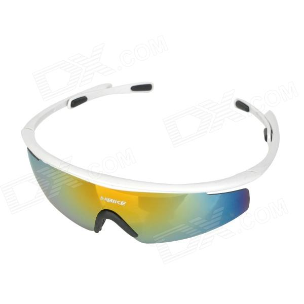 NBIKE 0943 Outdoor Riding UV400 Protection Grey REVO Resin Lens Sunglasses Goggles - White галоши oyo р 42