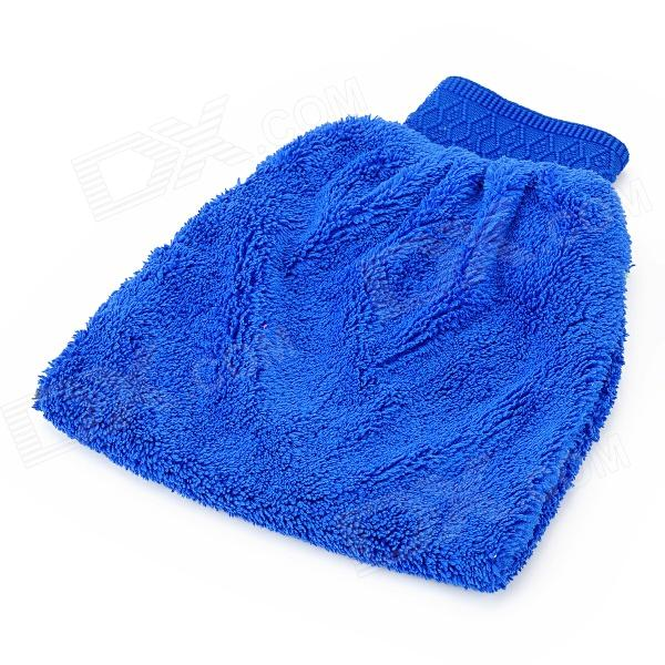 001 Double-Side Fiber Car Cleaning Glove - Blue