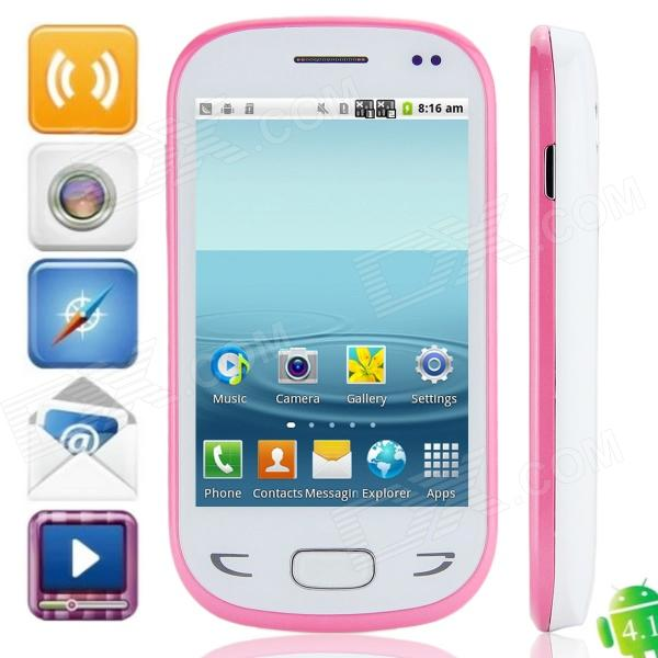 "X5292 Android 4.1.1 GSM Bar Phone avec écran capacitif 3.5 "", double bande et Wi-Fi - blanc + rose"