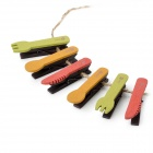 Mini Tableware Spoon Fork Design Wooden Note / Photo / Memo Pad Clips - Yellow + Green + Red (6 PCS)