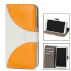 Protective Flip-Open PU Leather Case for Samsung Galaxy S4 i9500 - Yellow + White