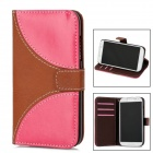 Protective Flip-Open PU Leather Case for Samsung Galaxy S4 i9500 - Brown + Deep Pink + Black