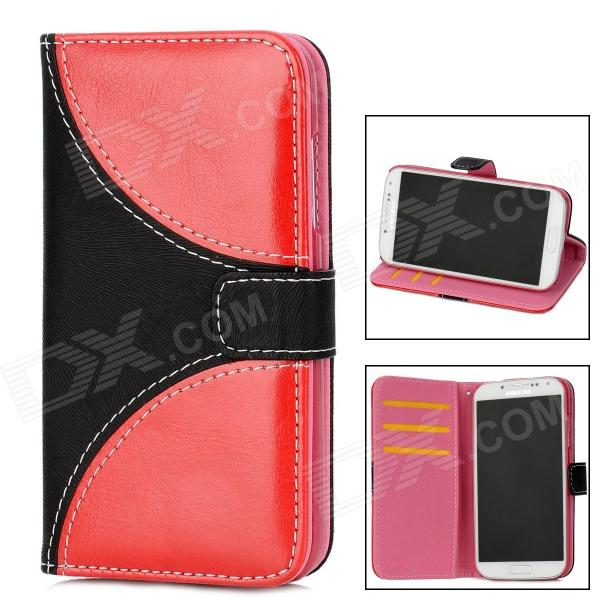 Protective Flip-Open PU Leather Case for Samsung Galaxy S4 i9500 - Deep Red + Black