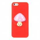 Cute Mushroom Style Protective Plastic + Resin Back Case for Iphone 5 - Red + Pink
