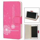 Protective Flip-Open PU Leather Case for Samsung Galaxy S4 i9500 - Deep Pink + White