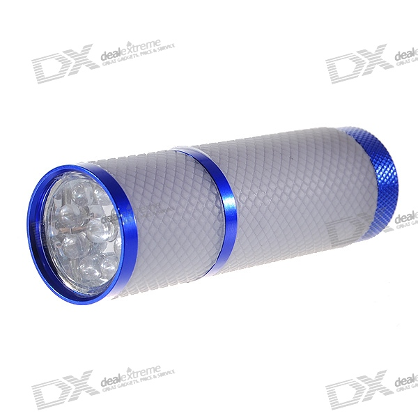 Glow-in-the-Dark 9-LED 9*20000mcd White Light Flashlight - Blue + Grey (3*AAA)