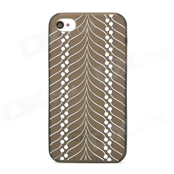Stylish Protective Silk Print Pattern PVC Back Case for Iphone 4S - Grey + White
