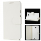 Stylish PU + Plastic Flip-Open Case for Huawei Ascend Mate - White