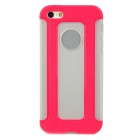 Detachable 2-in-1 Protective TPU Back Case for Iphone 5 - Deep Pink + Translucent White