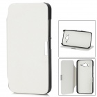 Protective PU Leather Flip-Open Case w/ Holder for Mi 2 - White + Black