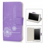 Stylish Dandelion Pattern Flip-open Protective PU Leather Case for Samsung Galaxy S4 i9500 - Purple