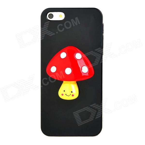 Cute Mushroom Style Protective Plastic + Resin Back Case for Iphone 5 - Black + Red