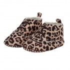 Cotton Leopard Baby Shoes - Dark Brown + Khaki (3 ~ 6 Monate / Paar)