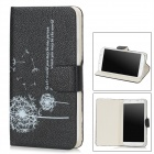 Stylish Dandelion Pattern Flip-open Protective PU Leather Case for Samsung Galaxy S4 i9500 - Black