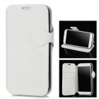 Flower Pattern PU Leather + Plastic Flip-Open Stand Case for Samsung Galaxy S4 - White + Black