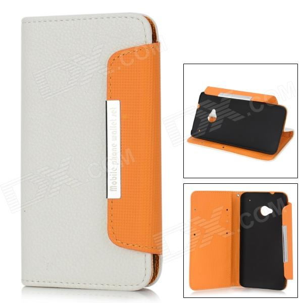 KALAIDENG Protective Litchi Pattern PU Leather Flip-Open Case for HTC ONE (M7) - White + Orange genuine leather protective flip open case for htc one m7 black