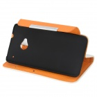 KALAIDENG Protective Litchi Pattern PU Leather Flip-Open Case for HTC ONE (M7) - White + Orange