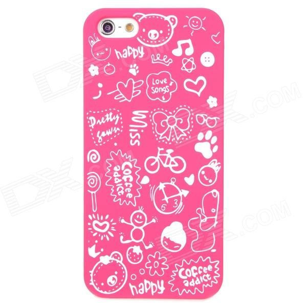 Cartoon Patterns Protective Hard Back Case for Iphone 5 - Deep Pink virgo pattern protective abs pc hard back case w rhinestone for iphone 5 deep pink white
