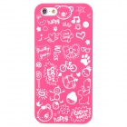 Cartoon Patterns Protective Hard Back Case for Iphone 5 - Deep Pink