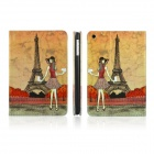 ENKAY Girl and Eiffel Tower Pattern Protective PU Leather Case for Ipad MINI - Brown + Red