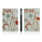 ENKAY Love and Effiel Tower Pattern Protective PU Leather Case for iPad Mini - Grey + Red