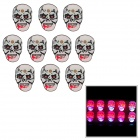 Skull Pattern Red and Blue Light LED Badges - Black + White + Red (3 x LR41 / 10 PCS)