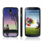 ENKAY Sunrise Pattern Protective PC Back Case for Samsung Galaxy S4 / i9500 - Black + Slate Blue