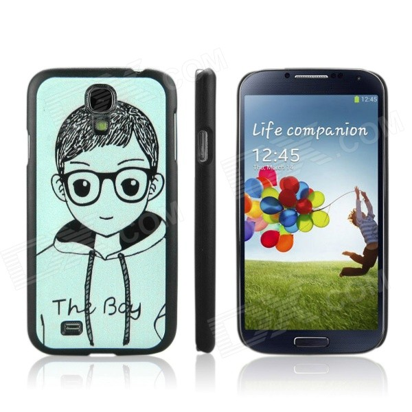 ENKAY Boy Pattern Protective PC Back Case for Samsung Galaxy S4 / i9500 - Black + Light Green