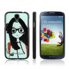 ENKAY Glasses Girl Pattern Protective PC Back Case for Galaxy S4 / i9500 - Black + Light Green